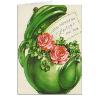 Green Teapot Rose Shamrock St Patrick's Day Card