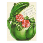 Green Teapot Rose Shamrock St Patrick's Day Post Card