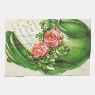 Green Teapot Rose Shamrock St Patrick's Day Tea Towel