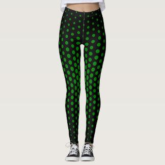 Green Techno Dot Pattern Leggings