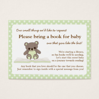 Green Teddy Baby Shower Book Insert Request Card