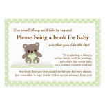 Green Teddy Baby Shower Book Insert Request Card Business Card Templates