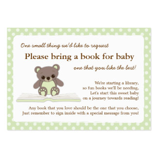 Green Teddy Baby Shower Book Insert Request Card Pack Of Chubby Business Cards