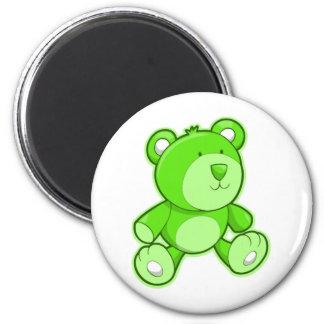 Green Teddy Bear 6 Cm Round Magnet