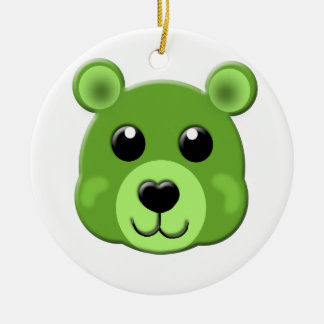 green teddy bear face christmas ornament