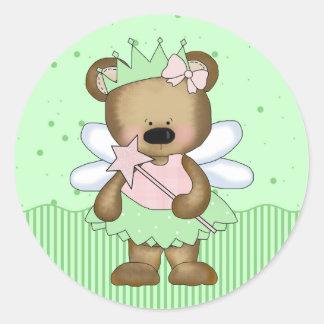 Green Teddy Bear Fairy Princess Round Stickers Stickers