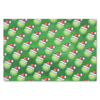 Green Tennis Ball In Santa Hat Pattern Tissue Paper