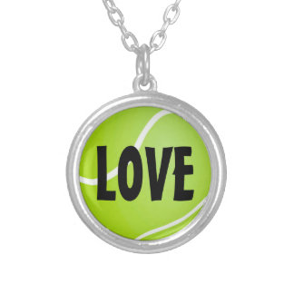 Green Tennis Ball LOVE Silver Plated Necklace
