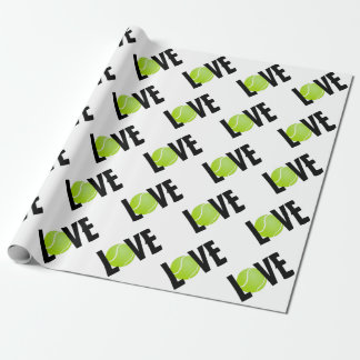 Green Tennis Ball LOVE Wrapping Paper