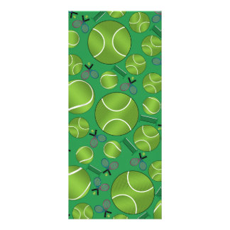 Green tennis balls rackets and nets personalized rack card