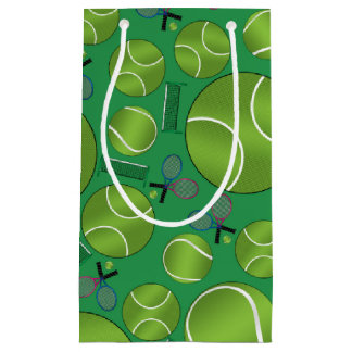 Green tennis balls rackets and nets small gift bag