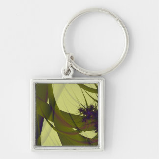 Green Tent Silver-Colored Square Key Ring