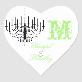 Green Text Chandelier Monogram Custom Sticker