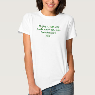 Green text: Mojito = 120 calories = 1 mile run T Shirts