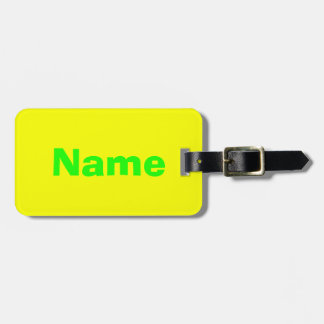 Green text on Yellow background Luggage Tag