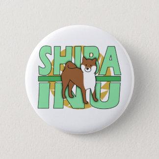 Green Text Shiba Inu 6 Cm Round Badge