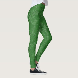 Green Textured Leggings