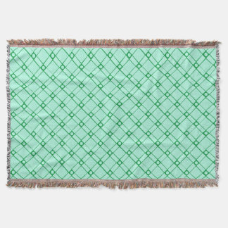 Green Textured Square, Oblong and Circle Pattern Throw Blanket