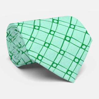 Green Textured Square, Oblong and Circle Pattern Tie
