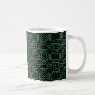 Green textured squares pattern coffee mug