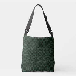 Green textured squares pattern crossbody bag