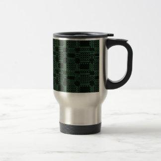 Green textured squares pattern travel mug