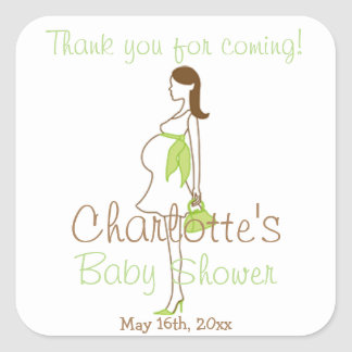 Green Thank You For Coming Silhouette Baby Shower Square Stickers