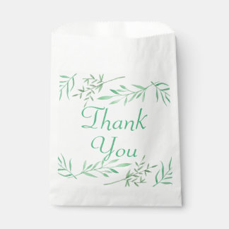 Green Thank You Watercolor Laurel Leaf Wedding Favour Bags