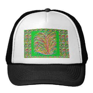 GREEN Theme  Artistic Grass Bush Colorful Spectrum Trucker Hat