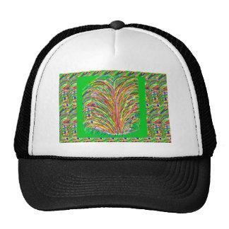 GREEN Theme Artistic Grass Bush Colorful Spectrum Hats