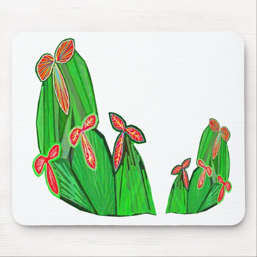Green Theme Water Colors - CACTUS Cacti Mouse Pad