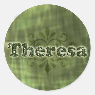 Green Theresa Round Sticker