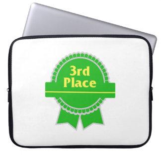 Green Third Place Ribbon Laptop Computer Sleeves