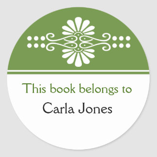 Green This Book Belongs To Labels Round Sticker