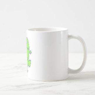 green three eyed dino monster basic white mug