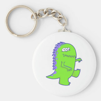 green three eyed dino monster keychains