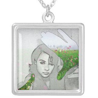 Green Thumb Square Pendant Necklace