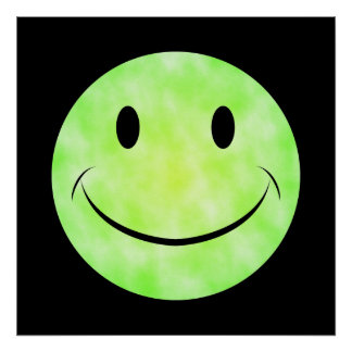 Green Tie Dye Smiley Face Poster