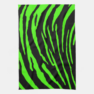 Green Tiger Stripes Tea Towel