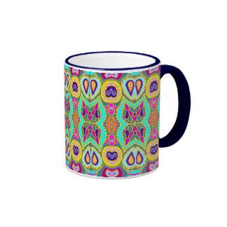 Green Tiki Pattern Ringer Mug