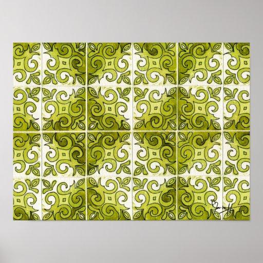 Green Tile Design 2 - Swirls Print