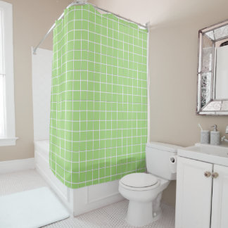 Green Tile Shower Curtain