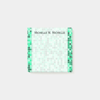 Green Tiled Squares Pattern + Custom Name Note Post-it® Notes