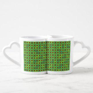 Green tiles and stars coffee mug set