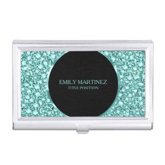 Green Tint Diamonds Pattern Glitter Business Card Holder