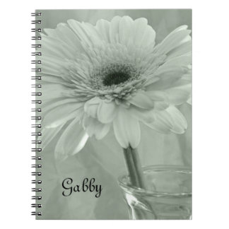 Green Tinted Daisy Flower Notebooks