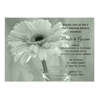 Green Tinted Daisy Post Wedding Brunch Invitation
