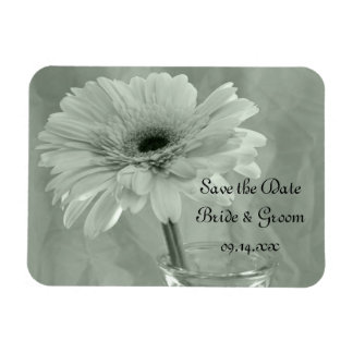 Green Tinted Daisy Wedding Save the Date Rectangular Photo Magnet