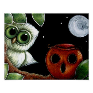 GREEN TINY OWL WITH A HALLOWEEN PUMPKIN POSTER