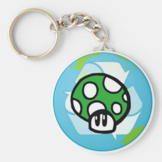 Green Toadstool Globe Key Chain